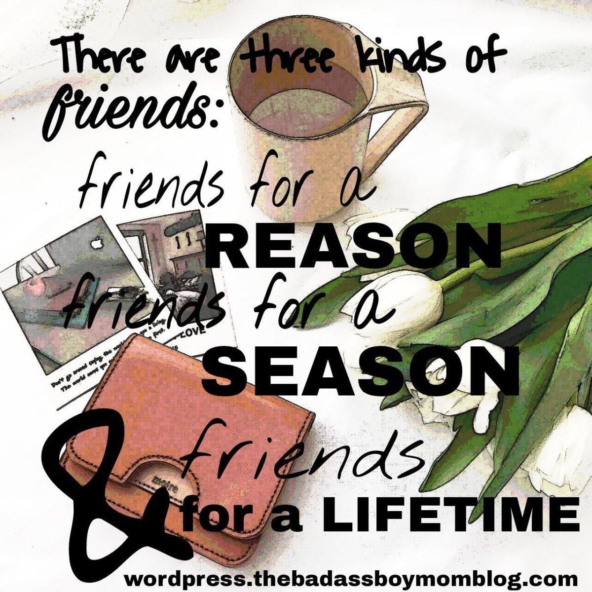 Three Types of Friends: Reason, Season,Lifetime